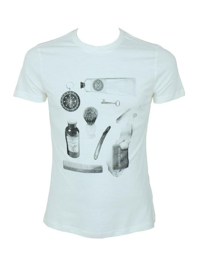 Armani Jeans Grooming Print T Shirt - White
