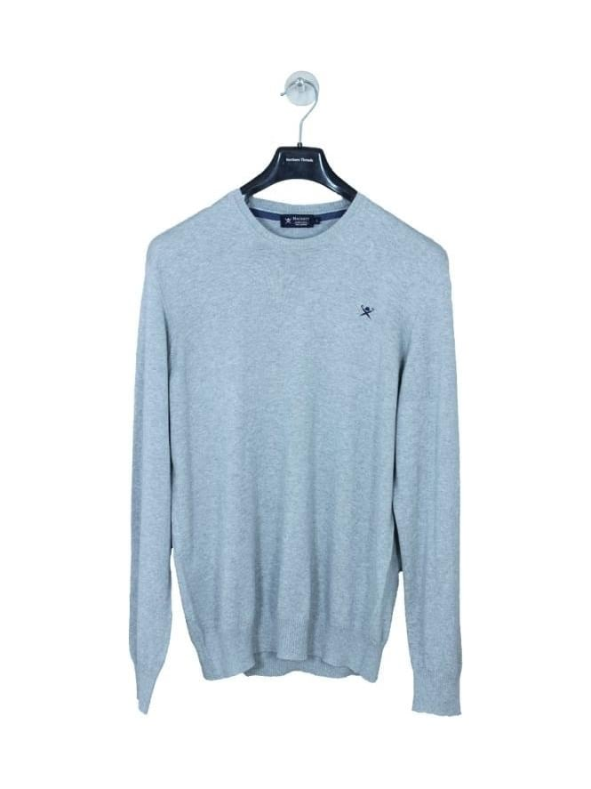 Hackett Pima Crew Neck Knit - Grey Marle
