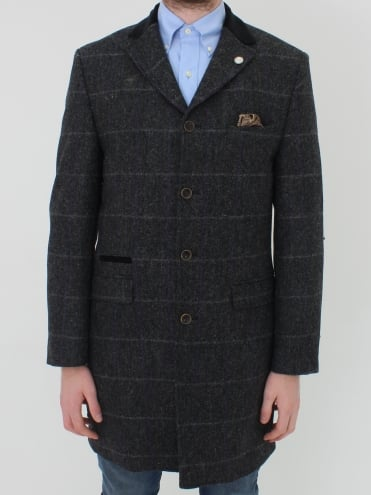 Herringbone Check Overcoat - Charcoal