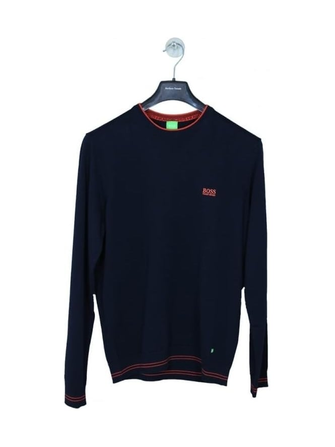 HUGO BOSS - BOSS Green Rime Cotton Crew Neck Knit - Navy