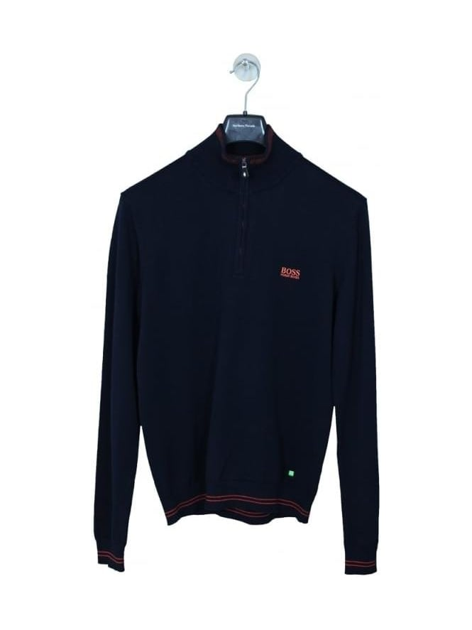 HUGO BOSS - BOSS Green Zime 1/2 Zip Knit - Dark Navy