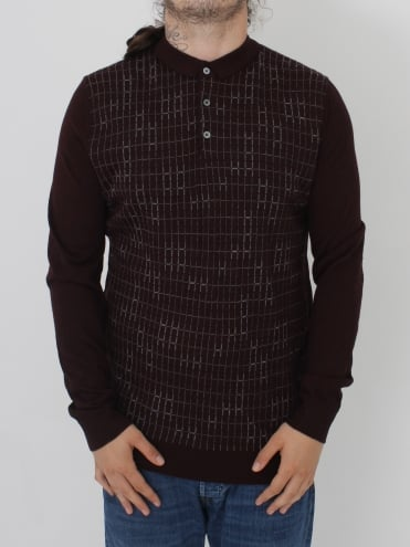 L/S Knitted Pattern Polo - Wine