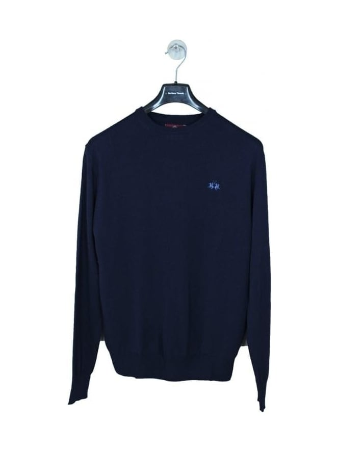 La Martina Rafael Crew Neck Wool Mix Knit - Navy
