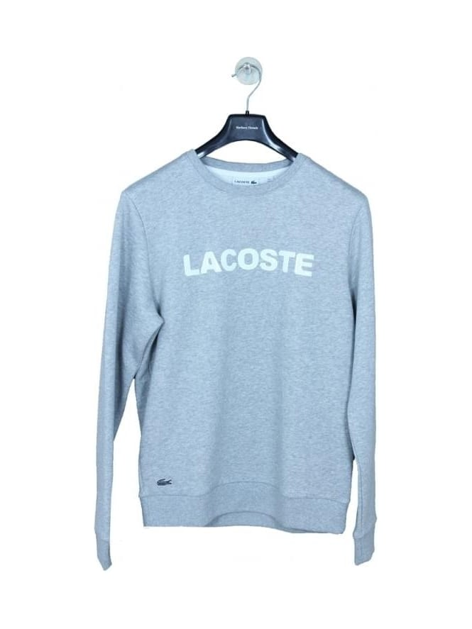 Lacoste Applique Logo Sweat - Silver/White