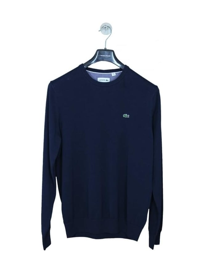 Lacoste Cotton Crew Neck Knit - Navy