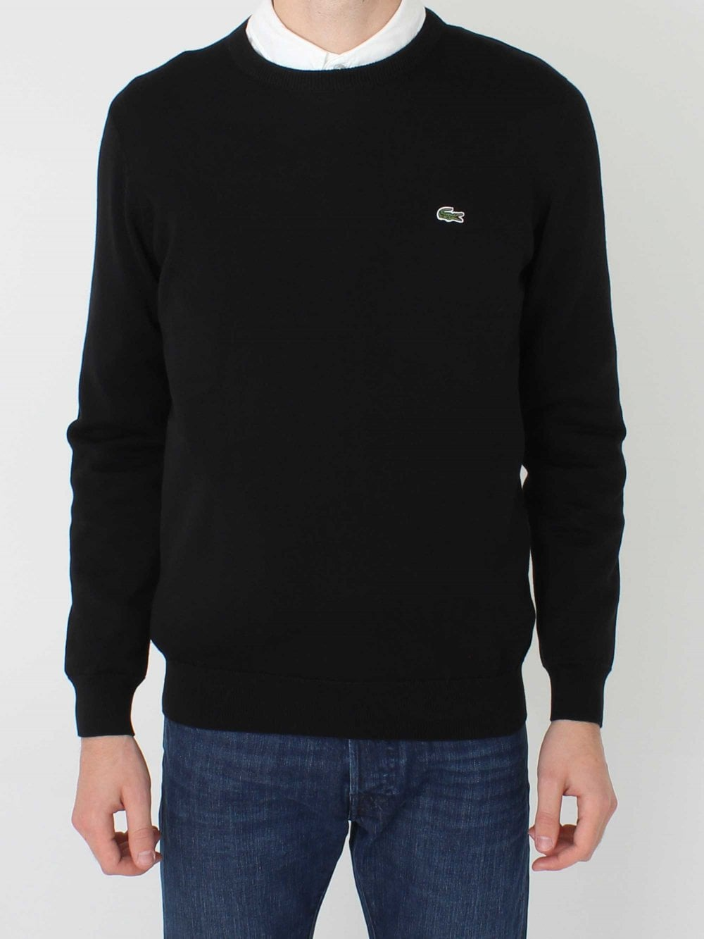 02782a9b3 Lacoste Crew Neck Logo Knit in Black/Flour   Northern Threads