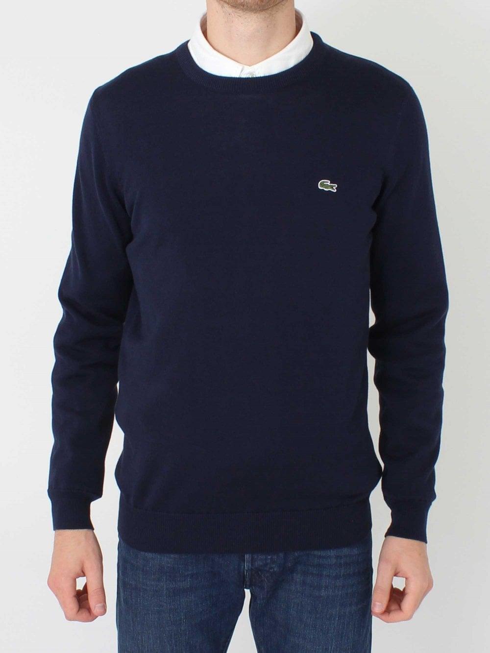0d7bdcdb Lacoste Crew Neck Logo Knit - Navy/Blue