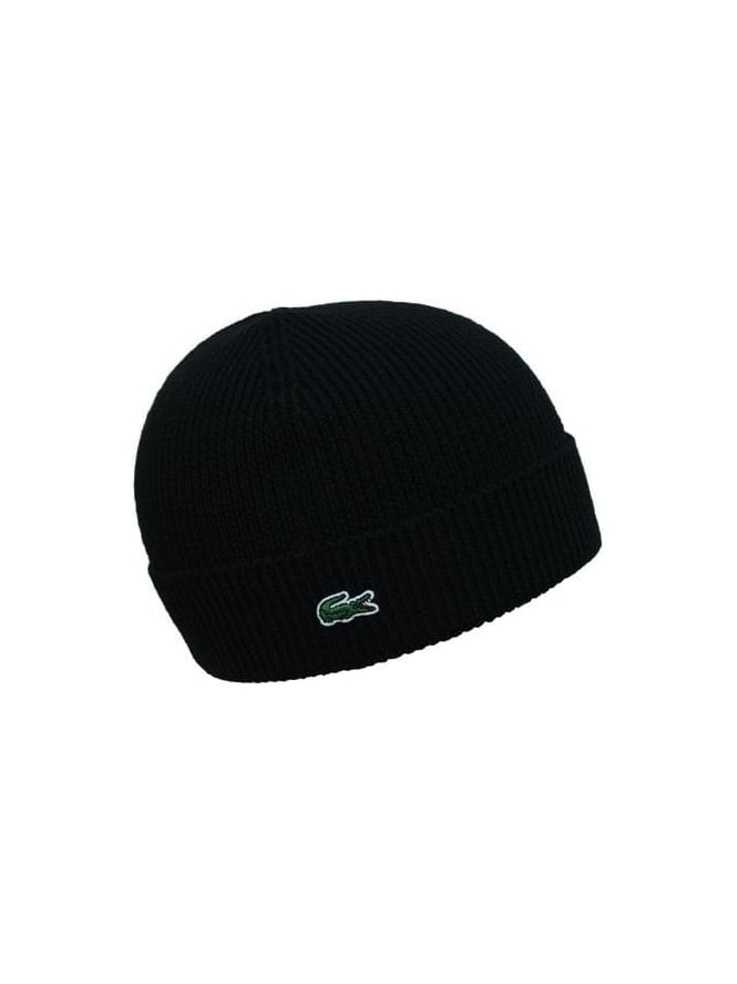 6164f4a2585 Lacoste Knitted Logo Beanie in Black - Northern Threads