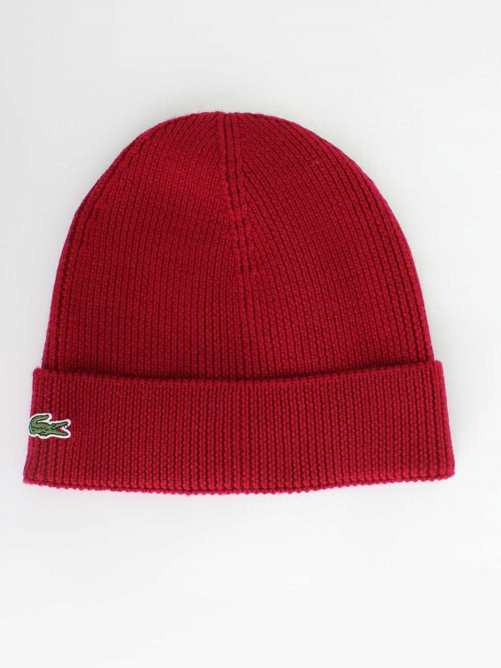 646ca743a3d Lacoste Knitted Logo Beanie in Bordeaux