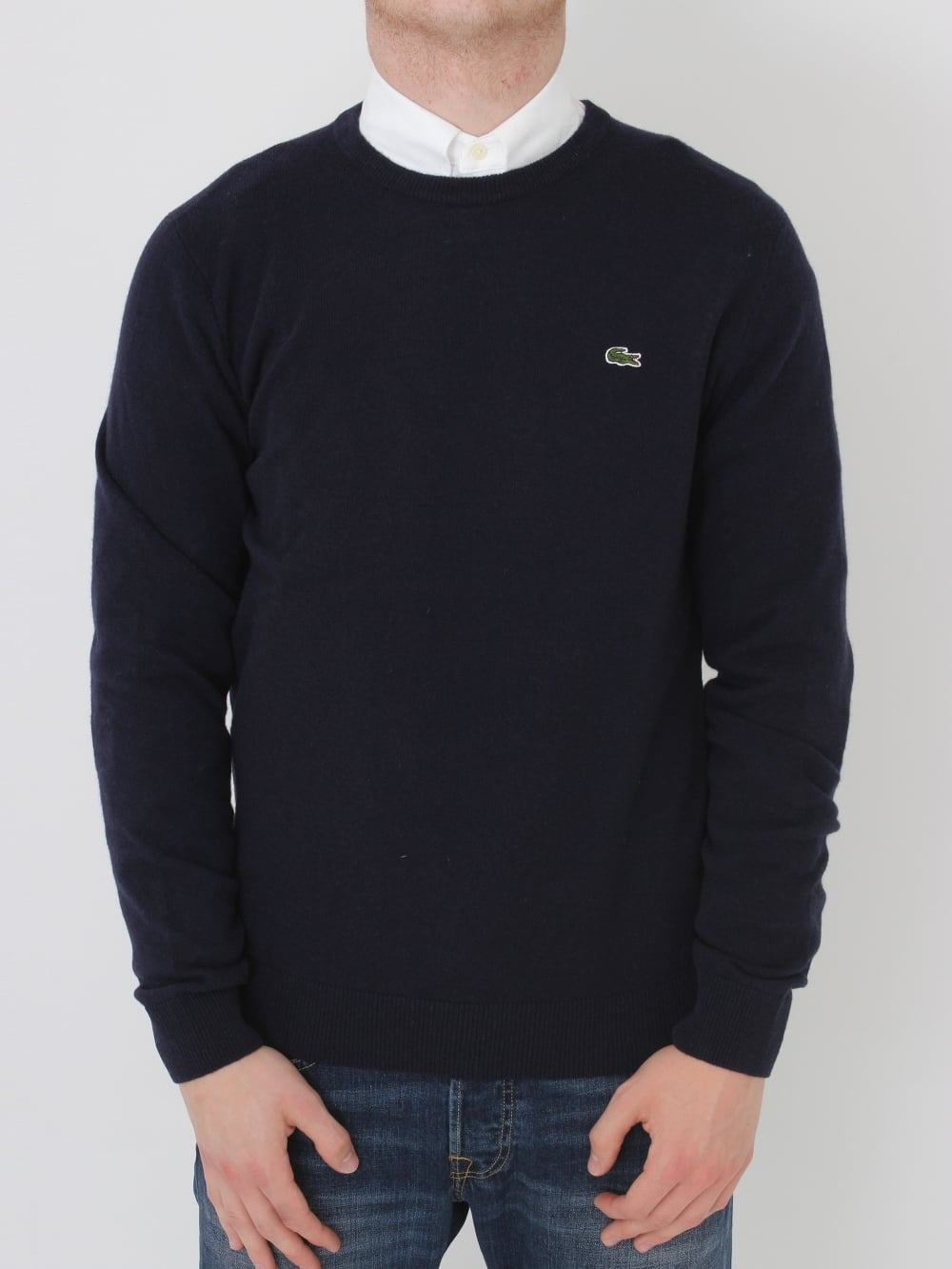 57689c0153 Lacoste Lambswool Crew Neck Knit in Navy - Northern Threads