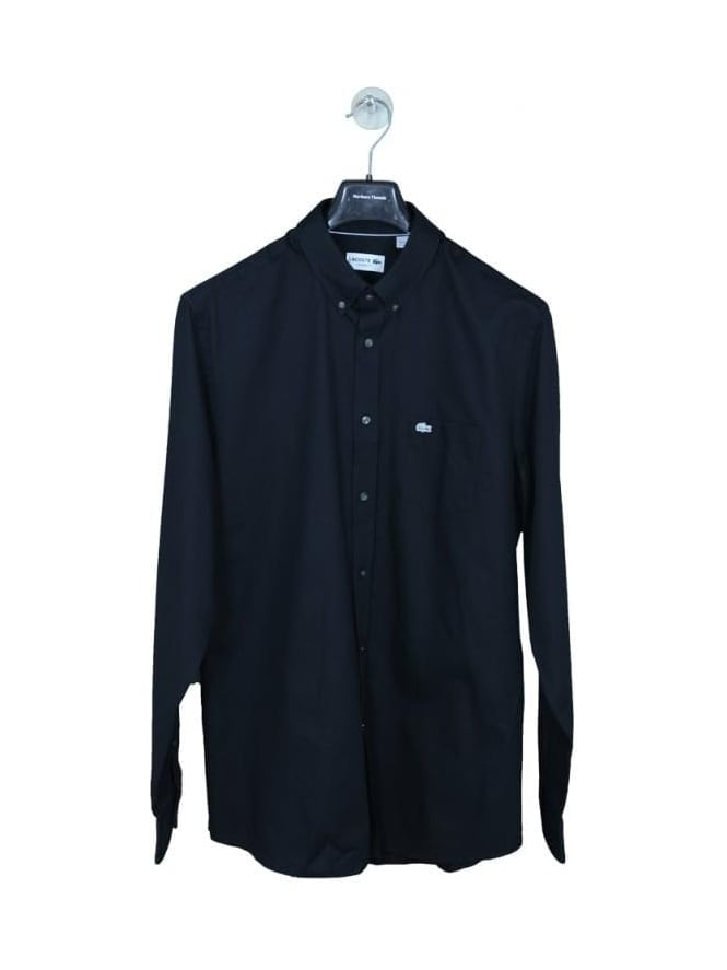Lacoste Oxford Weave Button Down Shirt - Black