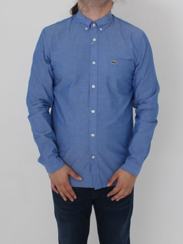Poplin Button Down Logo Shirt - Royal/White