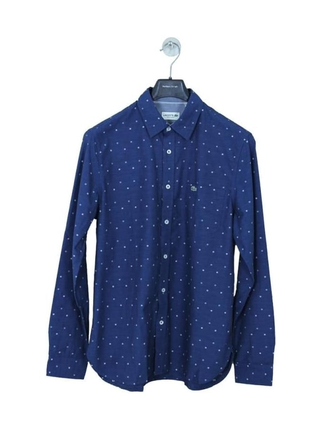 Lacoste Small Print Regular Fit Shirt - Boreal Blue