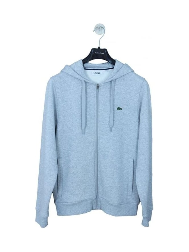 Lacoste Sport Hooded Zip Through Sweat - Silver