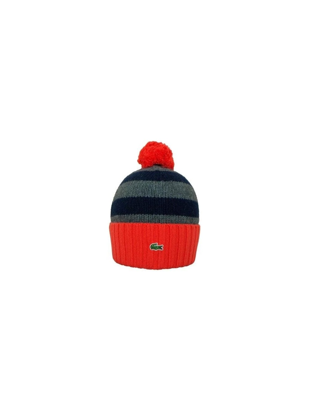 Lacoste Striped Bobble Hat in Eclipse - Northern Threads 0cd5b8d6eb6