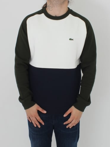 Tri Colour Crew Neck Sweat - Flour/Navy