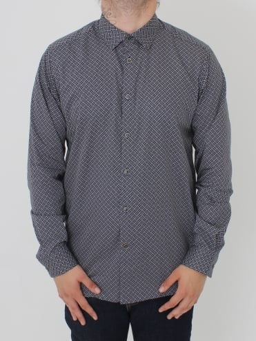 Larosh Rectangle Print Shirt - Navy