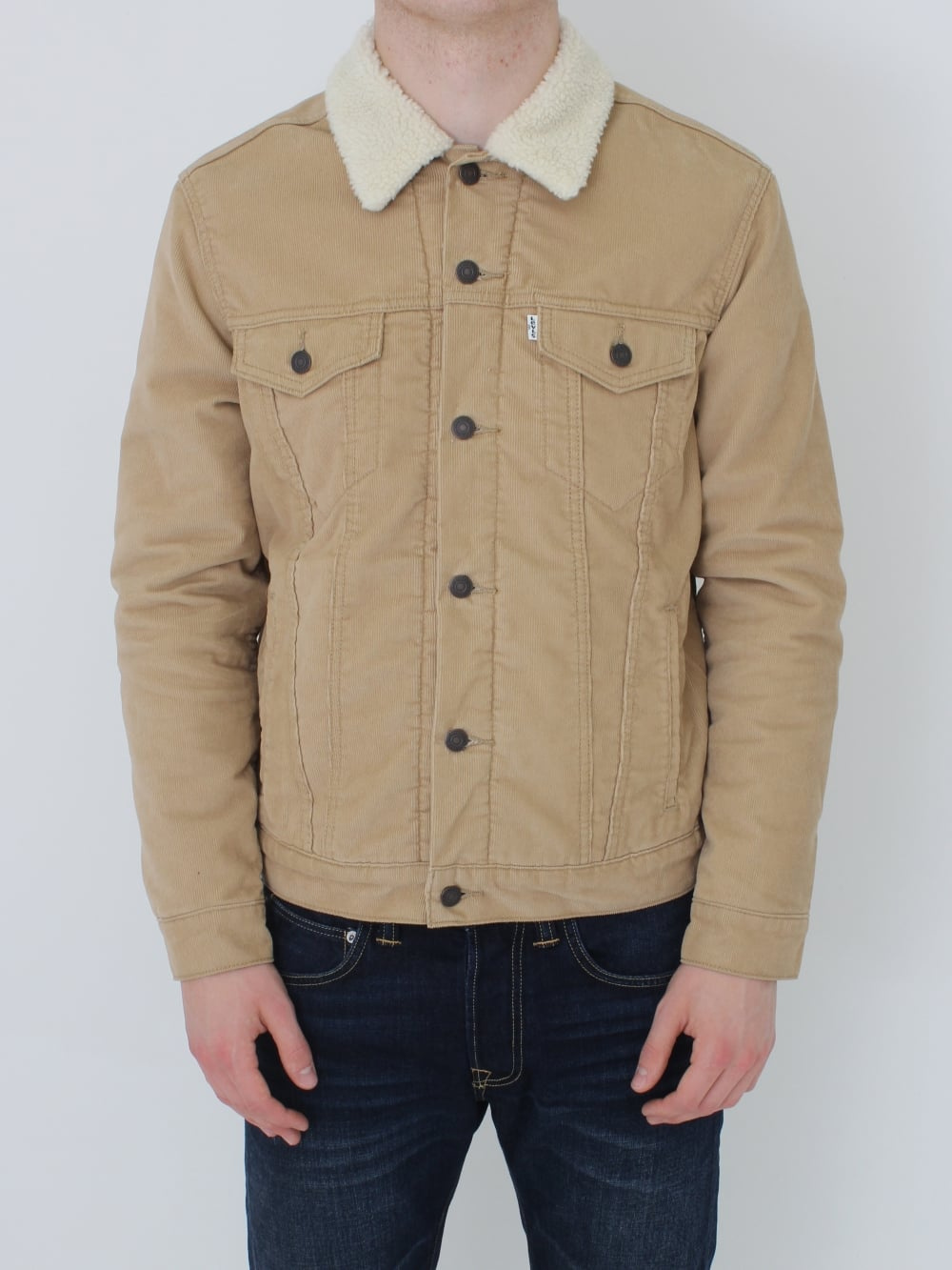 levi 39 s good sherpa trucker jacket in chino northern threads. Black Bedroom Furniture Sets. Home Design Ideas