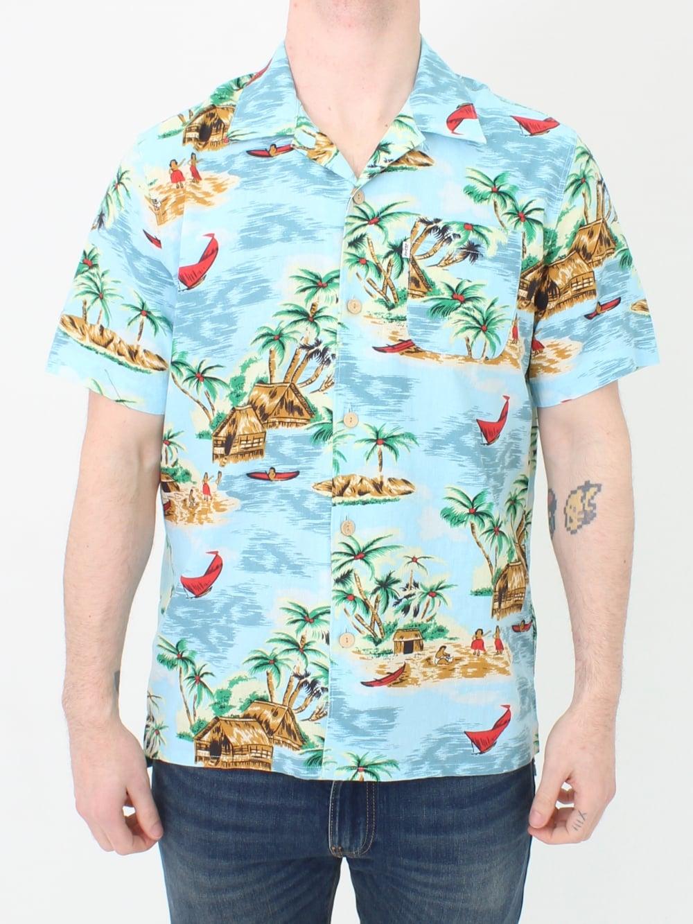 9de31e20a Levis Short Sleeve Hawaiian Shirt in Blue | Northern Threads