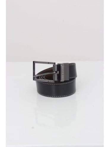 Lizard Reversible Leather Belt - Black