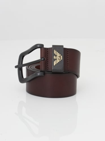 Logo Leather Belt - Dark Brown