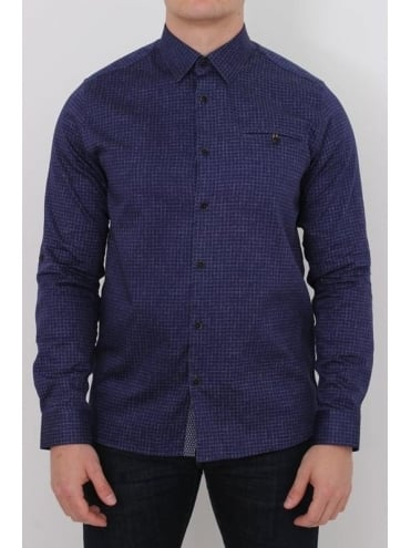 Lolli Faded Print Check Shirt - Navy