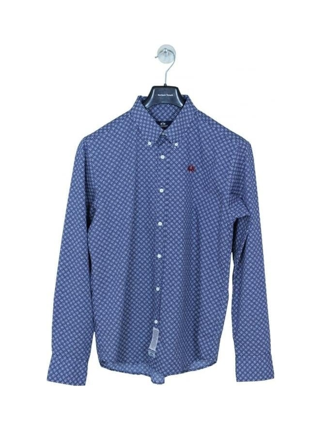 La Martina Long Sleeve Poplin Shirt - Navy/White