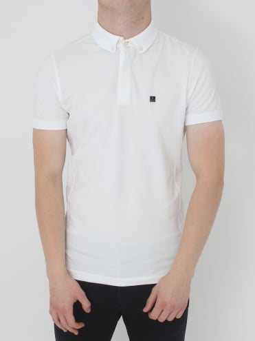 Slolo Bebossed Slim Fit Polo - White
