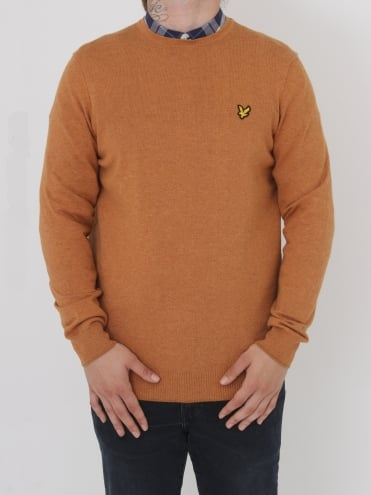 Crew Neck Cotton Merino Jumper - Gold