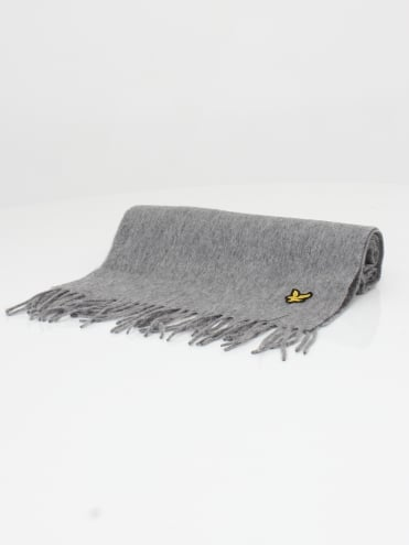 Plain Lambswool Scarf - Mid Grey