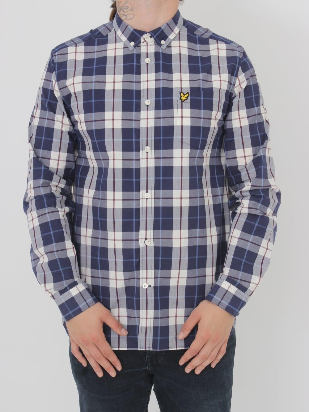 49b770c2632b Lyle   Scott Poplin Check Shirt in Off White - Northern Threads