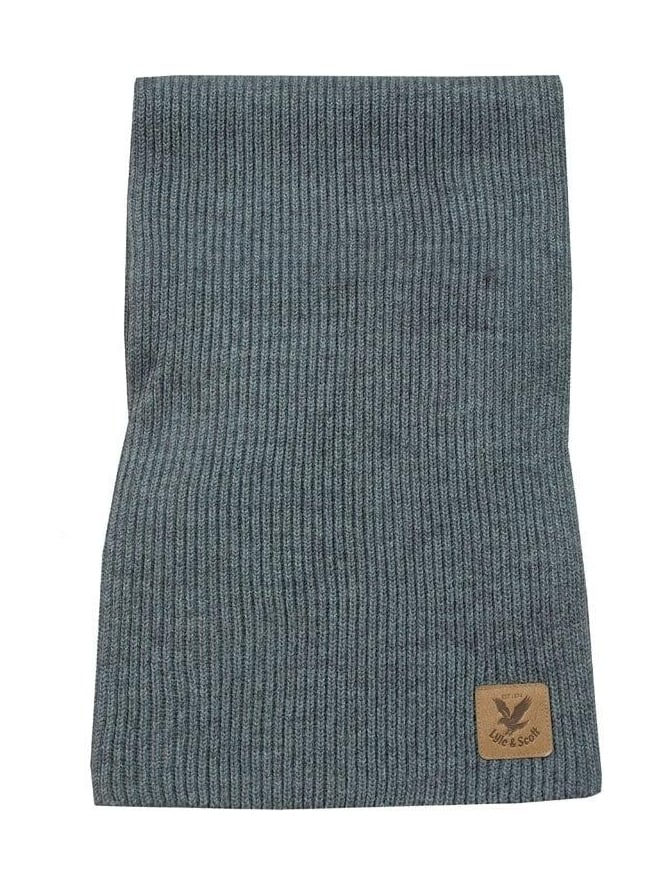 Lyle and Scott Ribbed Scarf - Grey Marle
