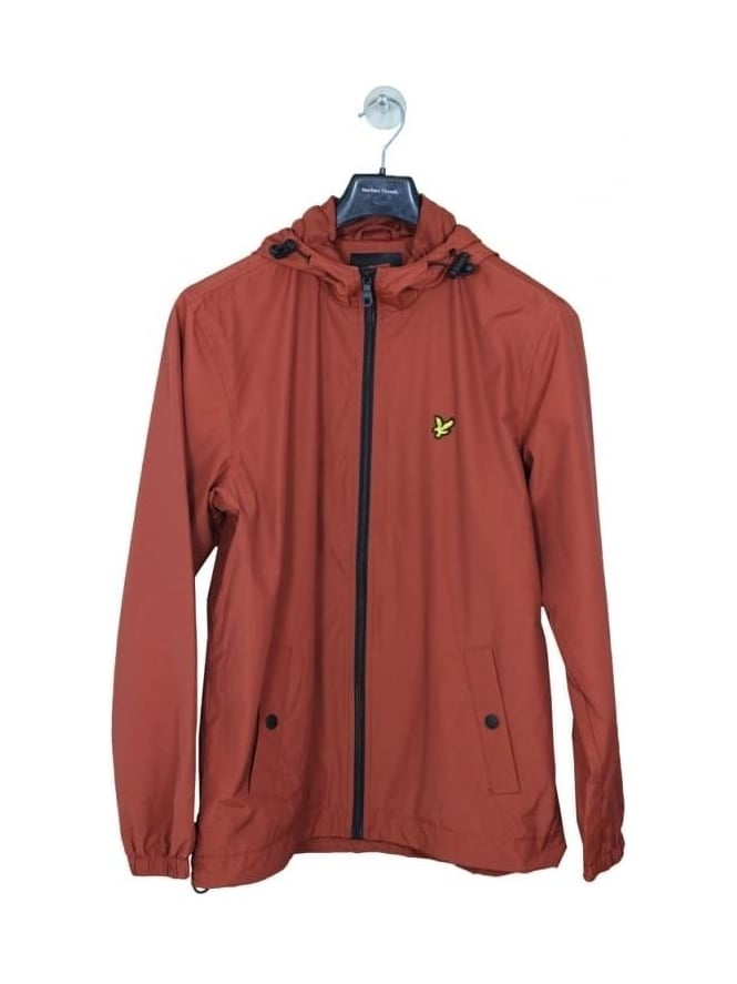 Lyle and Scott Zip Through Hooded Jacket - Burnt Redwood