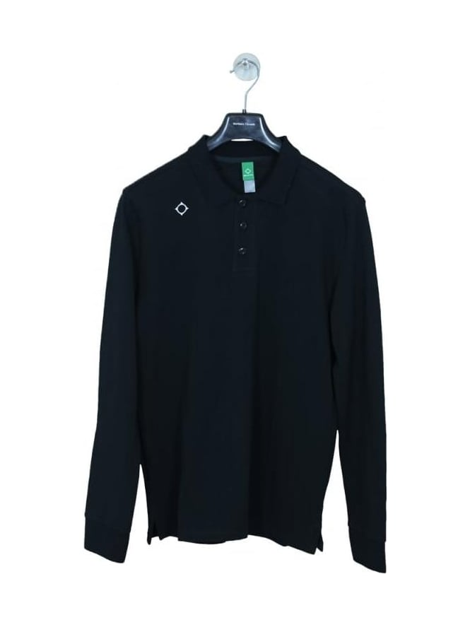 MA.STRUM Kit Issue L/S Pique Polo - Black