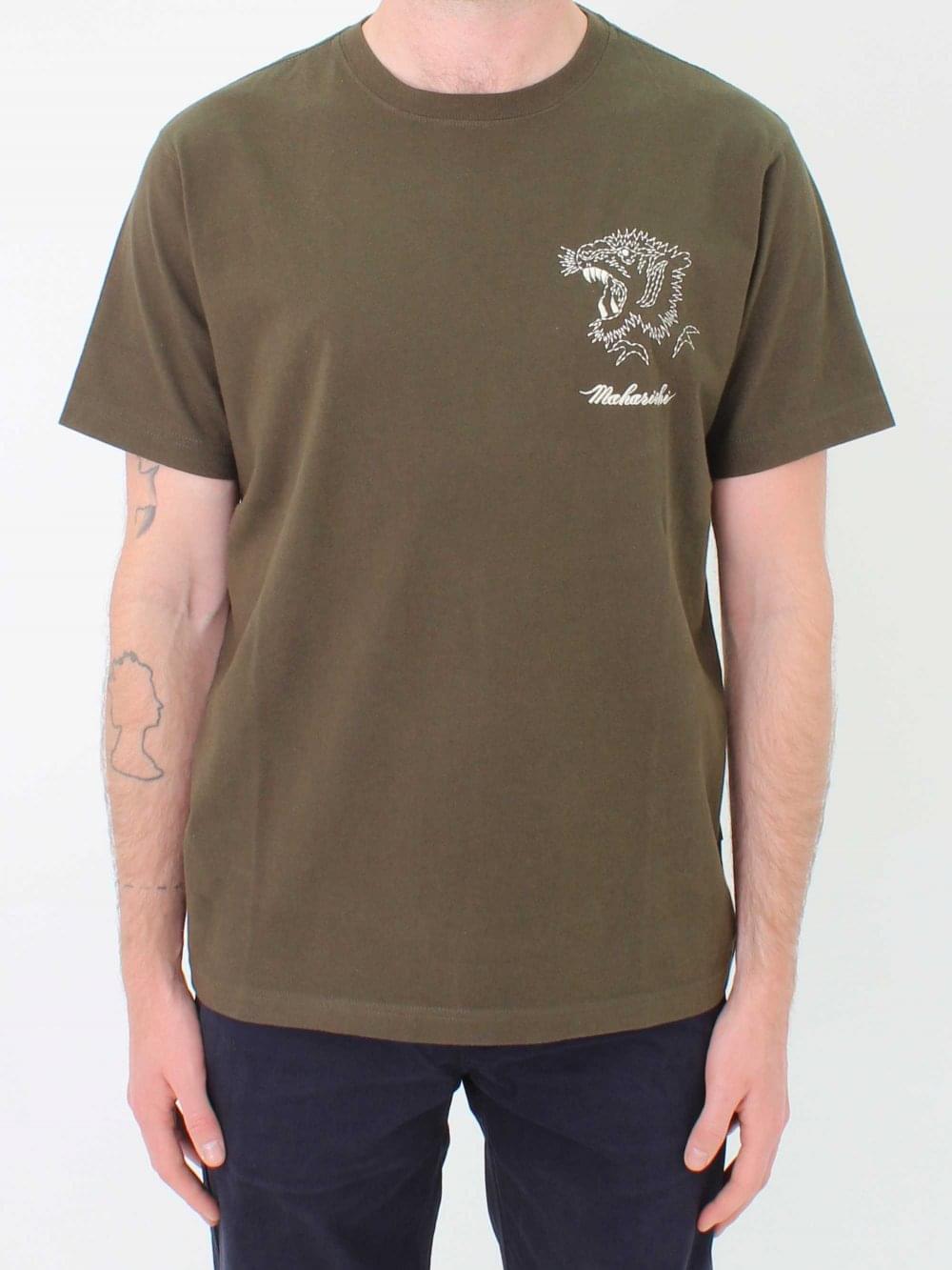 Tiger Stencil OliveNorthern Maharishi Threads Shirt T In 8PNn0wXOkZ