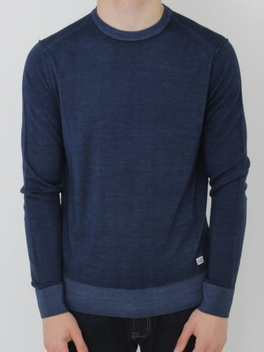 Merino Wool Hem Logo Knit - Blueprint