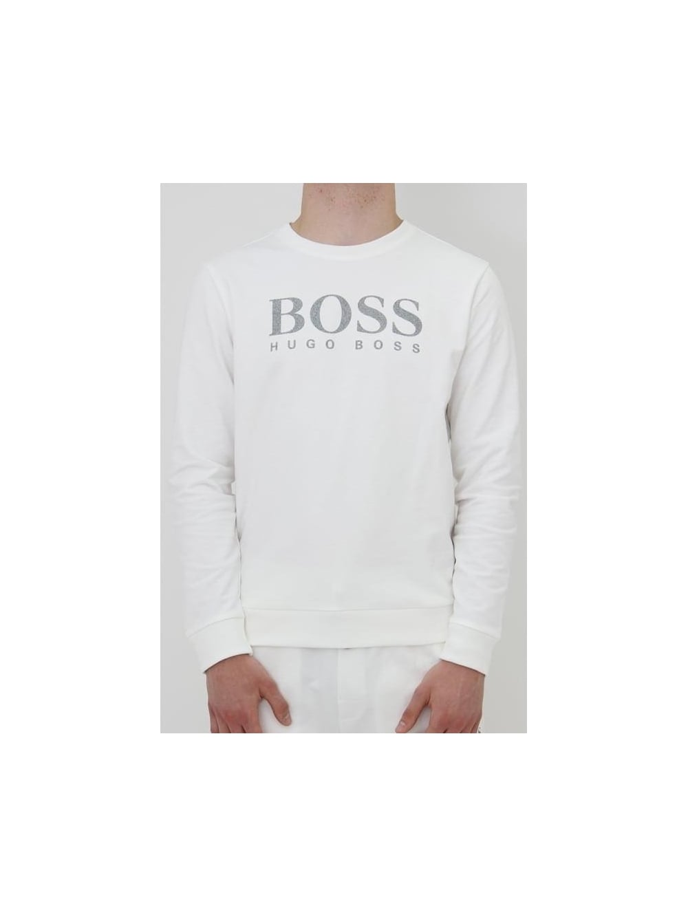 75866912dcd HUGO BOSS - BOSS Hugo Boss Chest Logo Sweatshirt In White - Northern ...
