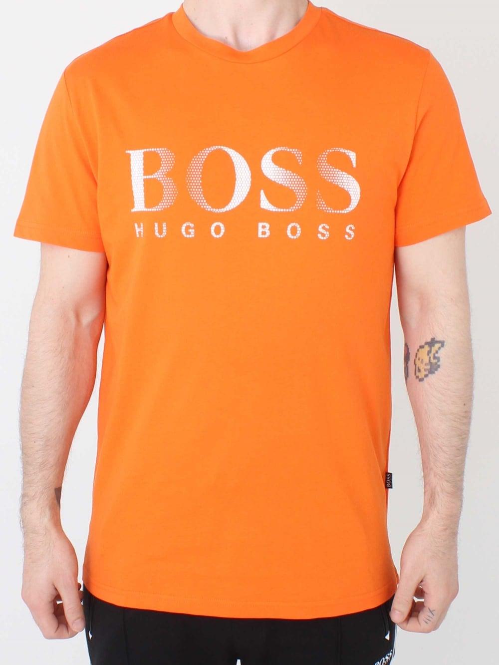 7e6c8f8c3 Hugo Boss Regular Fit UV Logo T.Shirt in Orange | Northern Threads