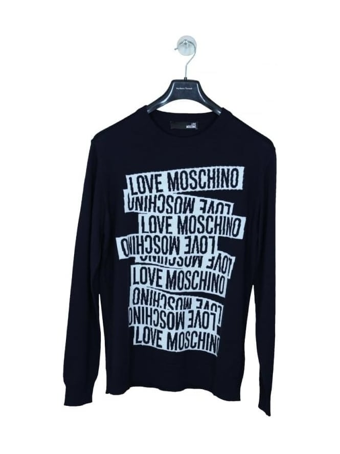MOSCHINO All Over Print Crew Knit - Navy