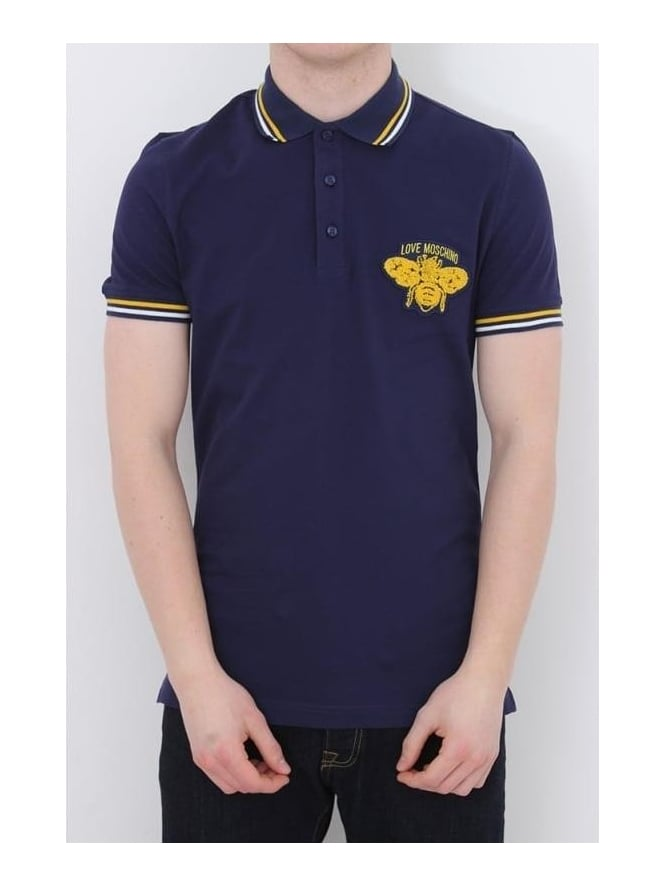 MOSCHINO Tipped Insect Polo - Navy