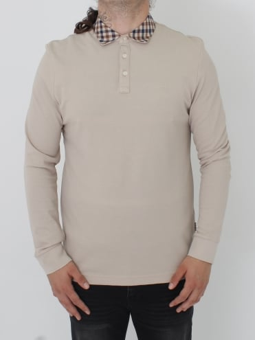 Nathan Club Check L/S Polo - Beige