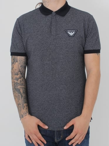 Oversized Logo Contrast Polo - Navy