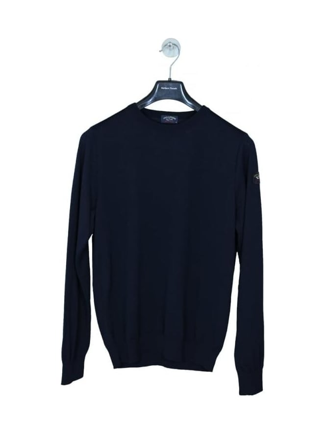 Paul and Shark Classic Arm Logo Crew Knit - Navy