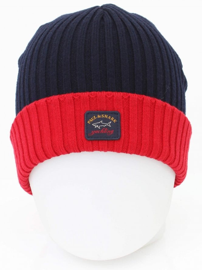 Paul and Shark Conrtrast Rim Logo Beanie - Navy/Red