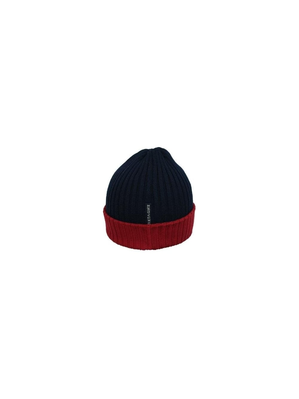 Paul   Shark Contrast Ribbed Beanie Hat in NAvy Red - Northern Threads 5e048547c4f1