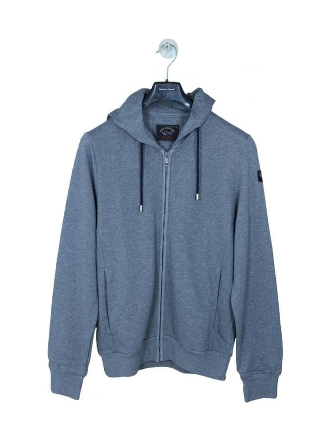 Paul and Shark Full Zip Arm Logo Hooded Sweat - Grey