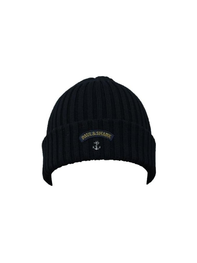 Paul and Shark Knitted Logo Beanie - Black