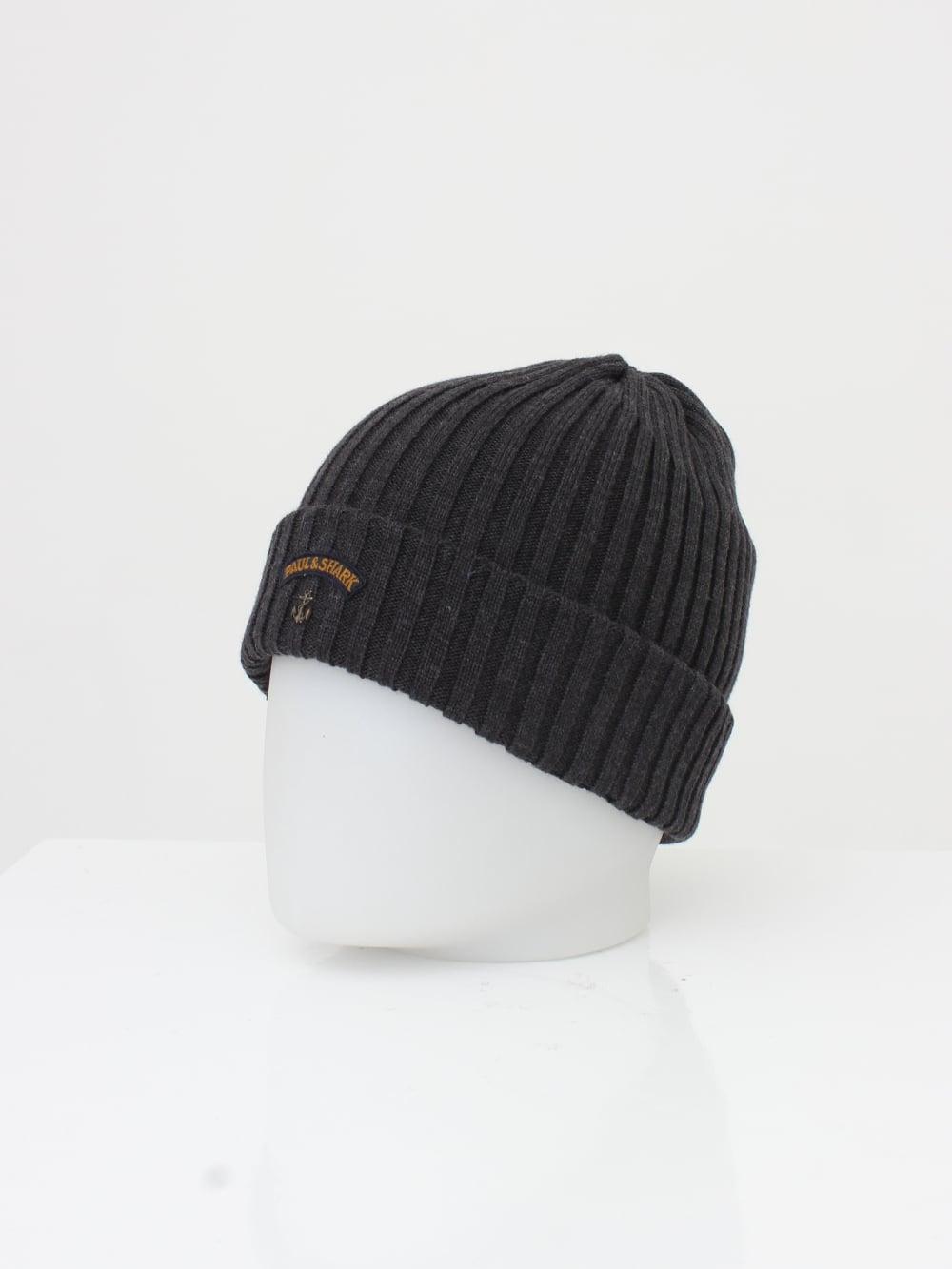 Paul   Shark Knitted Logo Beanie in Dark Grey - Northern Threads ea4310ba64e