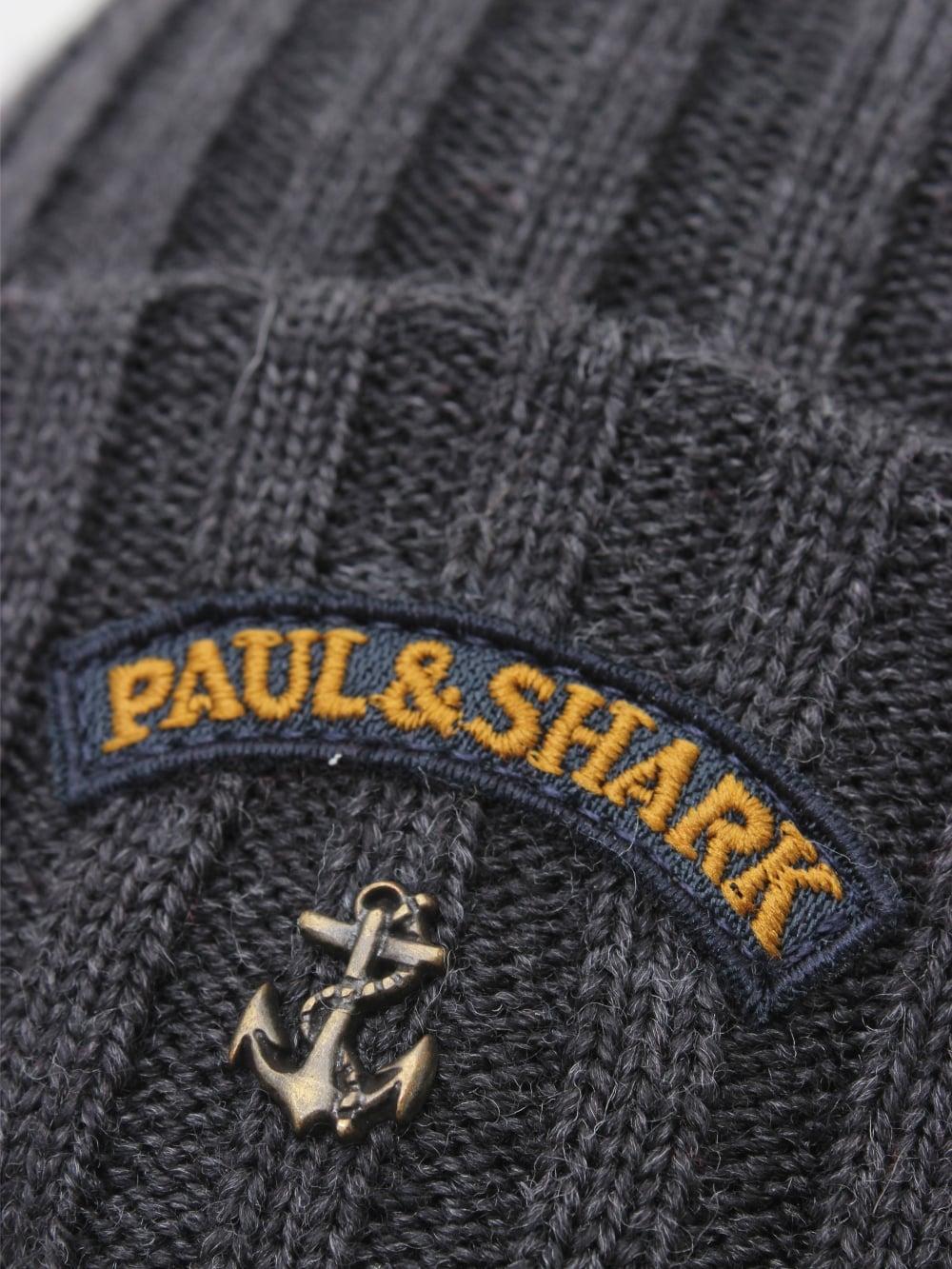 acf8c4f34b7 Paul   Shark Knitted Logo Beanie in Dark Grey - Northern Threads