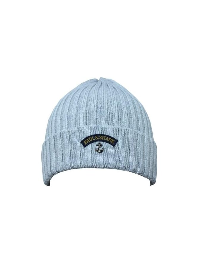 Paul and Shark Knitted Logo Beanie - Light Grey
